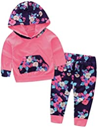 80899188a Baby Girl 2pcs Set Outfit Flower Print Hoodies with Pocket Top+Striped Long  Pants
