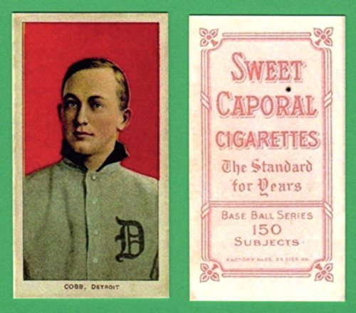 Ty Cobb 1909 T206 Tobacco Baseball Reprint Card (Red Portrait) (w/Sweet Caporal Back *150 Subjects) (Tigers)