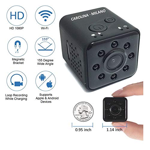 Mini Hidden Spy Camera Wireless Security Camera Nanny Camera with Infrared Night Vision Loop Recording Full HD 1080P 155 Wide Angle Waterproof 98ft DV Camcorder Mini Sports Action Camera Indoor WiFi (Nanny Cam Waterproof)