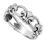 fleur de lis ring - Sterling Silver Chained Fleur De Lis Ring Size 10