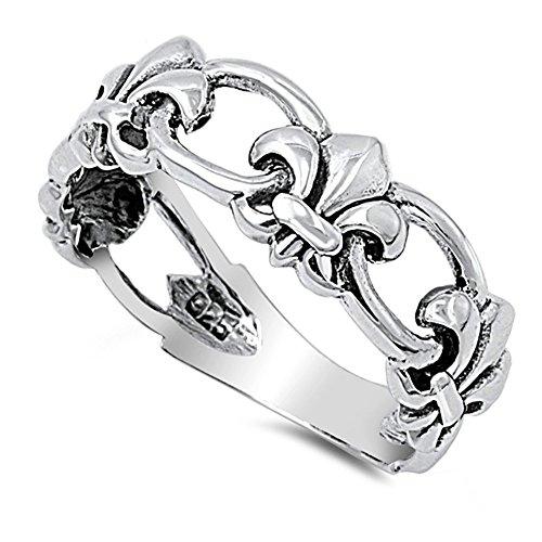 CloseoutWarehouse Sterling Silver Chained Fleur De Lis Ring Size 5 - Fleur De Lis Wedding Rings