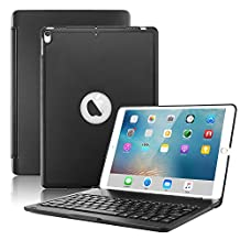 iPad 5 funda con teclado/iPad Air funda con teclado Metal protectora Funda Carcasa rígida Utra Fino, soporte Smart Cover con inalámbrico Bluetooth para iPad Air 2, Negro, For iPad 5/iPad Air