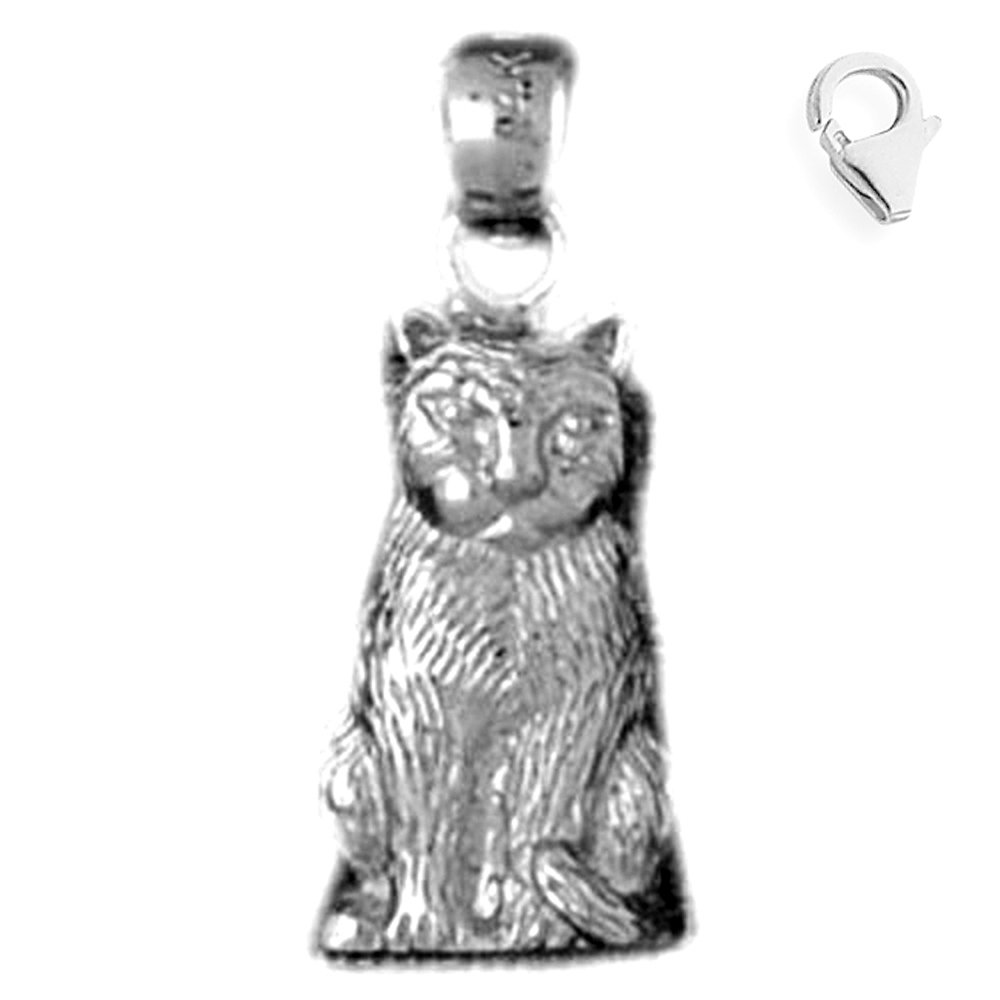 Sterling Silver 21mm Cat with 7.5 Charm Bracelet Jewels Obsession Cat Pendant