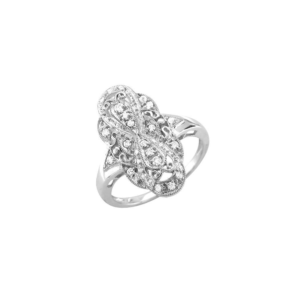 14k White Gold Diamond Ring Band, Size 7.5 (GH, I1 I2, 0.21 carat) [Jewelry]