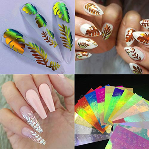 Nail Sticker Decals Supplies DIY Professional Leaf Tape Nail Art Foil Stickers Transfer Adhesive Nail Sticker Acrylic Nail Art Accessories Nail Decoration for Women Girls (Outline Leaf Fall)