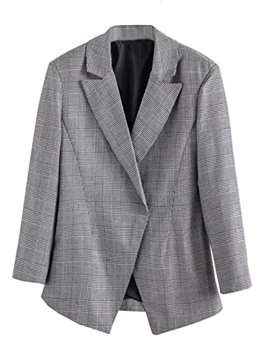 C2S Womens Jacket British Style Casual Back Vent Wedding Suit Coat WG002 (Grey, XL) by C2S