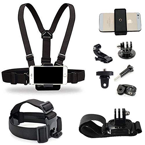 Supkeyer Cellphone Selfie Chest Mount+ Head Mount+ Wrist Mount with Clip for Gopro Hero 7 6 5 4 3+ 3 / Sony Action Cam/Xiaomi Yi Action Camera/iPhone Xs Max XR 8+ 8 7+ / Sony LG ZTE Cellphone (Action Cam Chest Strap)