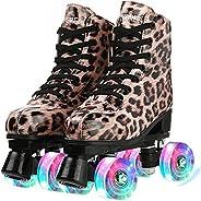 Roller Skates for Women, Unisex Leopard Roller Skates PU Leather High-top Roller Skates for Beginner, Classic