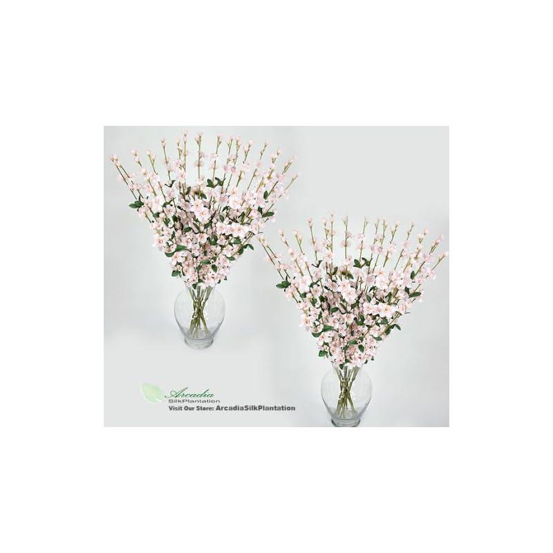 "silk flower arrangements 24 pieces of 27"" cherry blossom artificial silk flower sprays pink"
