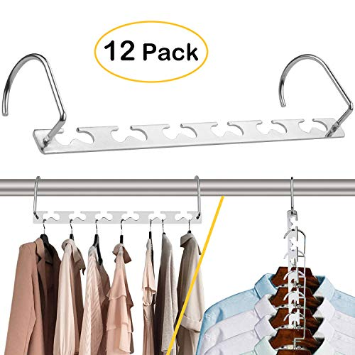 CBTONE 12 Pack Closet Space Saving Hangers, Multi-Purpose Metal Magic Hangers Cascading Hanger Updated Hook Design Wonder Metal Hangers for Organizing Wardrobe Clothing Hanger