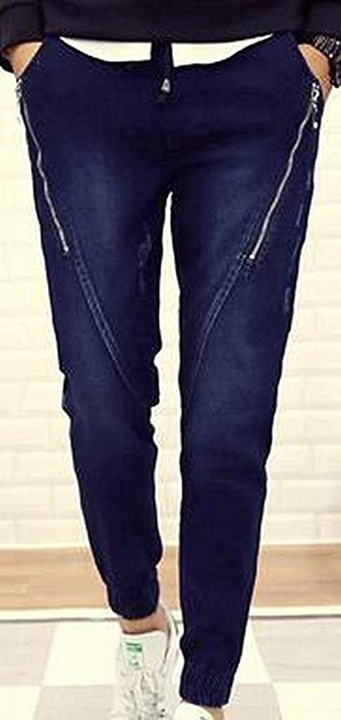 YNChiffonier Handsome Mens Skinny Ripped Destroyed Slim Straight Fit Zipper Jeans