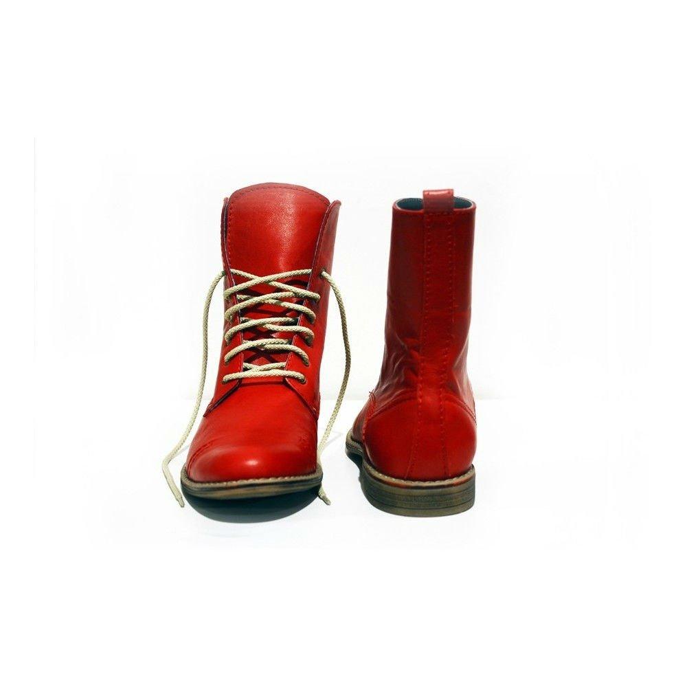Modello Vomero - Cuero Italiano Hecho A Mano Hombre Piel Rojo Botas Altas - Cuero Cuero Suave - Encaje: Amazon.es: Zapatos y complementos