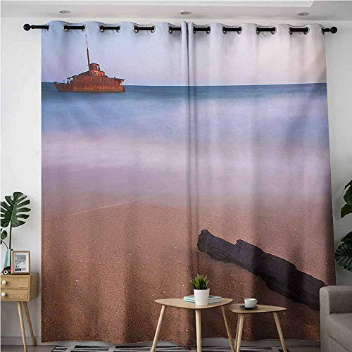 VIVIDX Indoor/Outdoor Curtains,Shipwreck Shipwreck on Beach at Dusk in South Australian Lands by Sea Shore Navy Nautical,Blackout Draperies for Bedroom,W96x72L,Multicolor