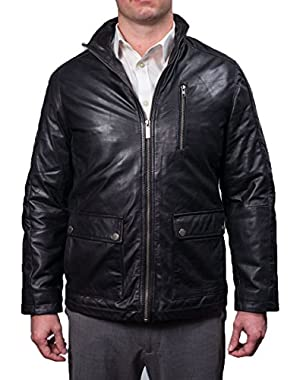 Men's Leather Zip Front with Patch Pockets