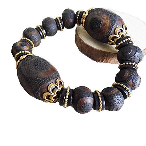 Prime Fengshui Protective Old Black Tibetan 3 Eye Dzi Beads Bracelet Amulet Bangle Attract Positive Energy and Good Luck
