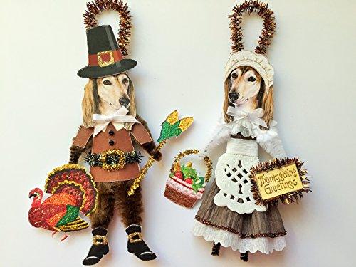 Saluki THANKSGIVING PILGRIM ORNAMENTS Vintage Style Chenille Ornaments Set of 2