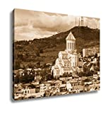 Ashley Canvas View Of Sameba Or Holy Trinity Cathedral Of Tbilisi The Main Georgian Orthodox, Kitchen Bedroom Living Room Art, Sepia 24x30, AG6006547