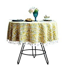 """Cotton Linen Vintage Tablecloth with Multi-Tassels for Home Tabletop Decoration (Yellow, Round - 72"""")"""