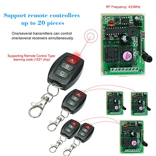 KKmoon 433Mhz DC 12V 2CH Universal 10A Relay Wireless Remote Control Switch Receiver Module and 5PCS 3 Key RF 433 Mhz Transmitter Remote Controls 1527 Chip Smart Home Automation by KKmoon (Image #3)