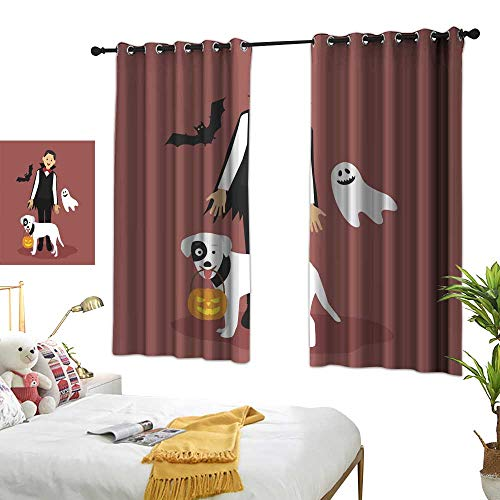 Cloth Curtain Halloween Dracula Costumes with White Dog Carrying a Pumpkin Colorful Life W96.4 xL72 -