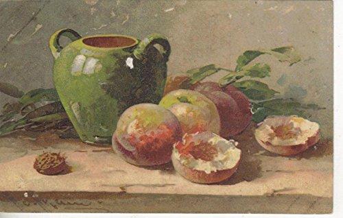 Table setting with fruit ceramic jug artist signed C Klein antique pc Z5156 (Ceramic Signed)