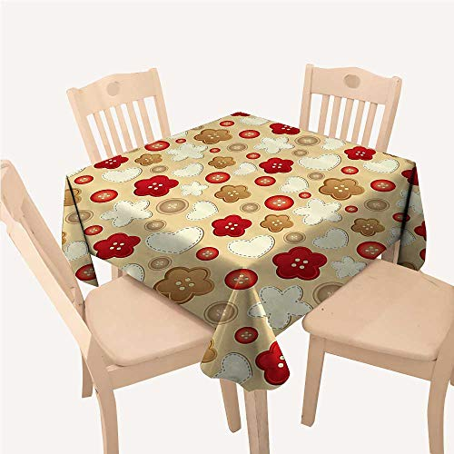 (WilliamsDecor Beige Decor Collection Party Supplies Tablecloth Cute Illustration of Hearts Buttons and Flowers Feminine Playful Chic Modern Art DecoBrown Beige Red Square Tablecloth W54 xL54 inch)