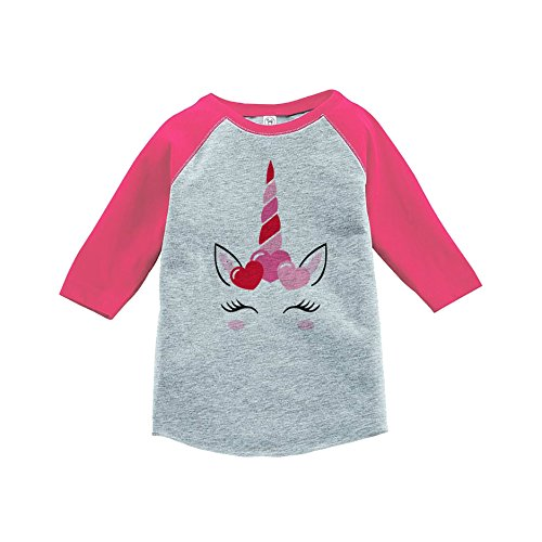 7 ate 9 Apparel Girl's Valentine's Day Unicorn Pink Baseball Tee 5T