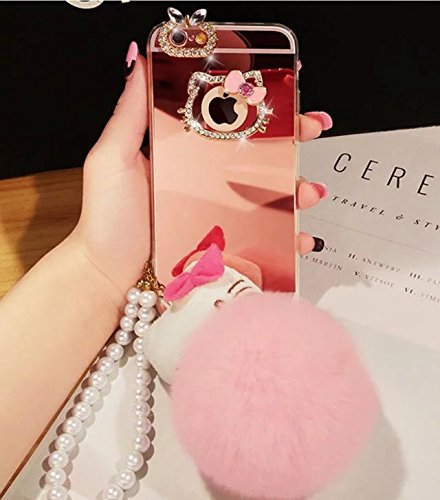 Price comparison product image LG G5 Case,LG G5 Bling Diamond Case,Fashion Cute Bing Diamond Plush Ball Acrylic Mirror Pearl Strap Cartoon Kitty Case Cover For LG G5,Rose