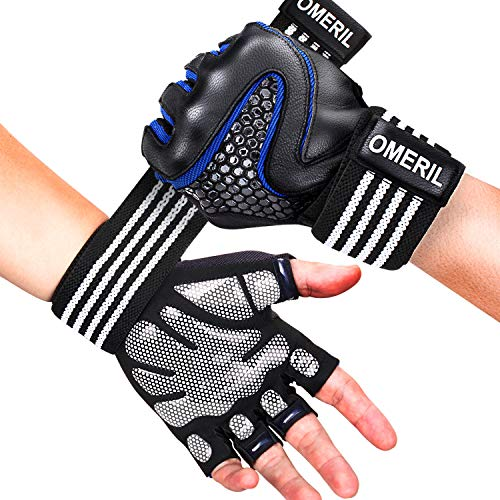 (OMERIL Gym Gloves, Breathable Workout Gloves with Wrist Support.5MM Palm Pad, Sheepskin Leather for Hand Protection, Anti-Slip Fitness Gloves for Weight Lifting Cross Training Pull Ups (Men and Women))