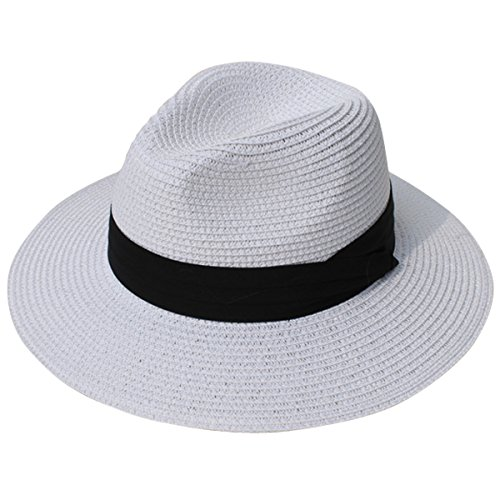 Lanzom Women Wide Brim Straw Panama Roll up Hat Fedora Beach Sun Hat UPF50+ (White)