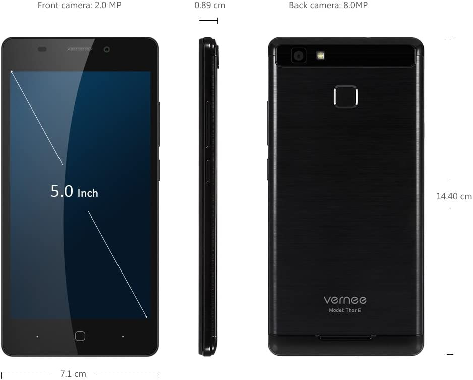 Vernee Thor E 4G Smartphone 5.0 Pulgadas Android 7.0 MTK6753 Octa Core 1.3GHz 3GB RAM 16GB ROM Touch Sensor 5020mAh Batería Full Metal Cuerpo (Negro): Amazon.es: Electrónica
