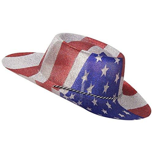 Smiffys 22027 Déguisement Homme Chapeau de Cowboy à Paillettes, Rouge/Argent, Taille Unique