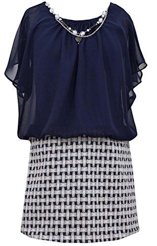 Navy Blue Chiffon Blouson Basket Jacquard product image