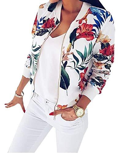 Chic Manica Giacca Outerwear Fiore Moda Hipster Baseball Eleganti Con Vintage Donna Cappotto Lunga Cute Bianca Tempo Libero Bomber Stampa Giaccone Cerniera Autunno Primaverile fId7xd6q
