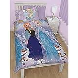Disney Frozen Childrens Girls Crystal Reversible Duvet Cover Bedding Set (Full) (Multicoloured)