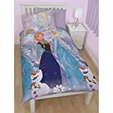 Disney Frozen Childrens Girls Crystal Reversible Twin Quilt Cover Bedding Set (Twin) (Multicoloured)