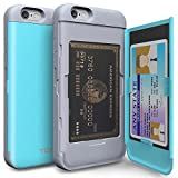 iPhone 6S Case, TORU [iPhone 6S Wallet Case Teal] Protective Slim Fit Dual Layer Hidden Credit Card Holder ID Slot Card Case with Mirror for iPhone 6S / iPhone 6 - Cyan