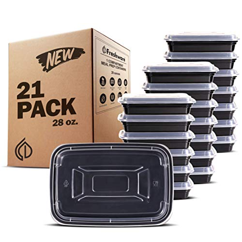 Freshware YH-1X21C Meal Prep [21 Pack] 1 Compartment with Lids Food Storage Containers, Lunch BPA Free | Stackable | Bento Box, Microwave/Dishwasher/Freezer Safe, 28 oz,
