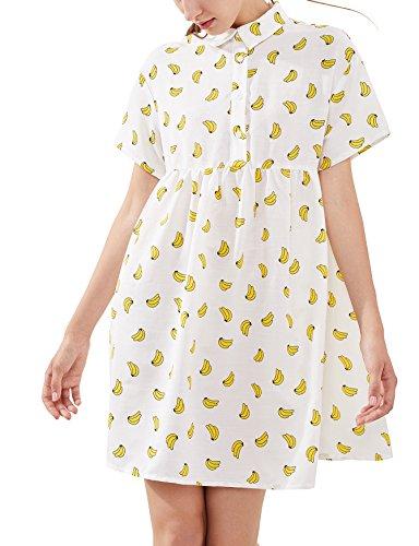 Romwe Women's Summer Short Sleeve Allover Banana Print Loose Tunic Dress White XS ()
