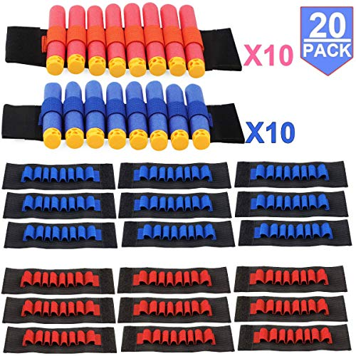 Compatible with Nerf Guns Darts - 20 PCS Party Supplies Toy Gun Accessories Wrist Ammo Holders EVA Soft Bullets Gun Wrist Belt Band Strap Compatible with Nerf N-strike Elite Series Blasters (2 Teams)