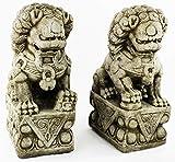 Foo Dog Pair Garden Statues Concrete Asian Sculpture For Sale