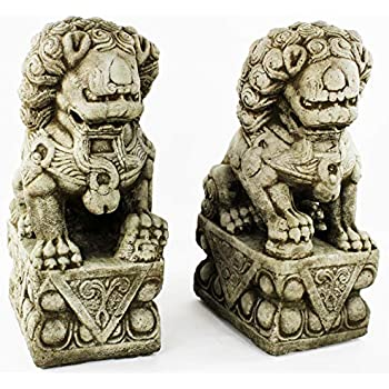 Foo Dog Pair Garden Statues Concrete Asian Sculpture