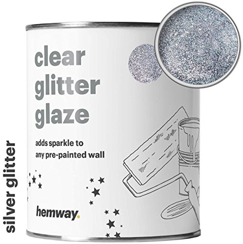 (Hemway Clear Glitter Paint Glaze (Silver) 1L/Quart for Pre-Painted Walls Acrylic, Latex, Emulsion, Ceiling, Wood, Varnish, Dead flat, Matte, Soft Sheen, Silk (CHOICE OF 25 GLITTER COLOURS))