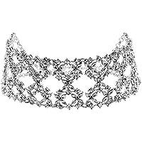 Diamondo Diamond Crystal Rhinestone Charm Flower Pendant Choker Necklace (Gold) (Silver)