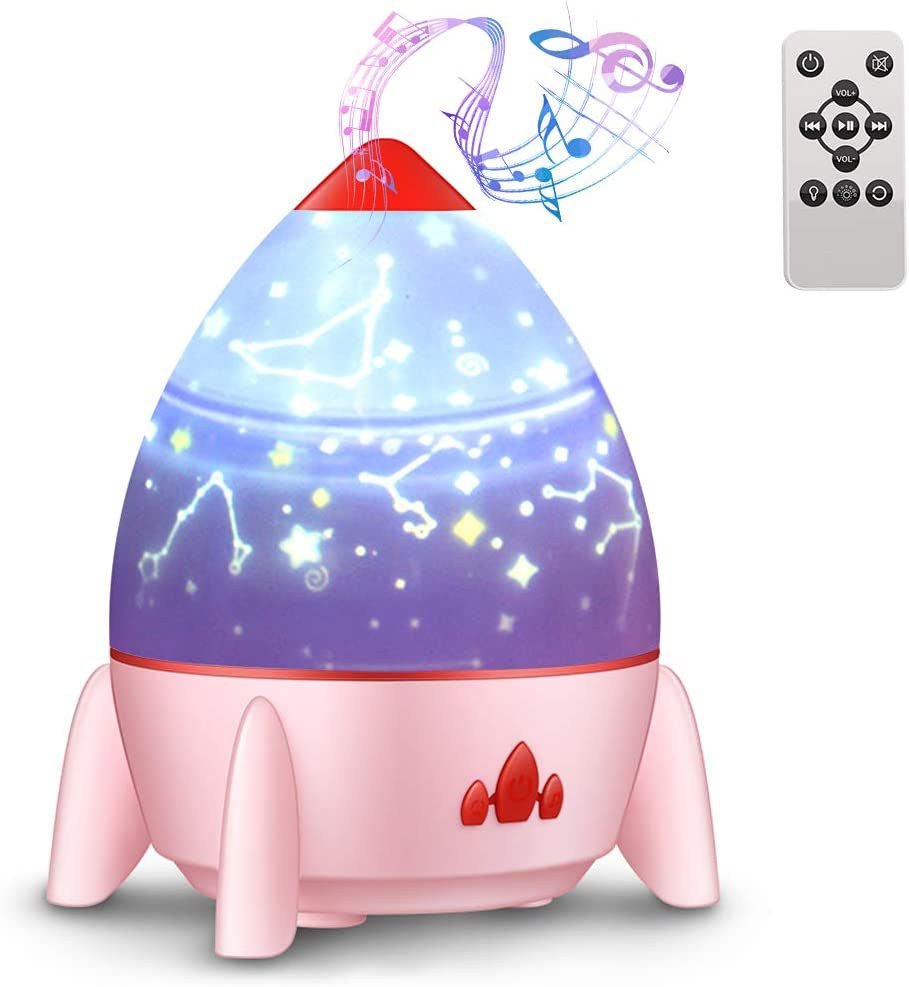4 luces nocturnas musicales, lámpara giratoria de 360 estrellas ...