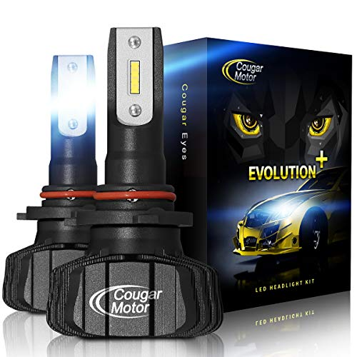 Cougar Motor 9005 Led headlight bulbs, 9600Lm 6500K (HB3) Fanless All-in-One Conversion Kit - 3D Bionic ()