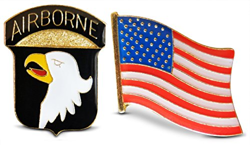 Novel Merk Patriotic U.S. 101st Airborne Division & American Flag Lapel or Hat Pin & Tie Tack Set with Clutch Back by