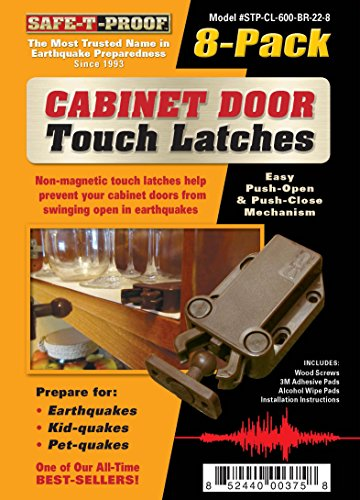 Safe-T-Proof STP-MP-600-BR-2208 Cabinet Door Touch Latches (Pack of 8), Brown
