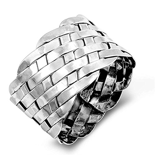 Sterling Silver Solid Plain Woven Band Ring Sizes -