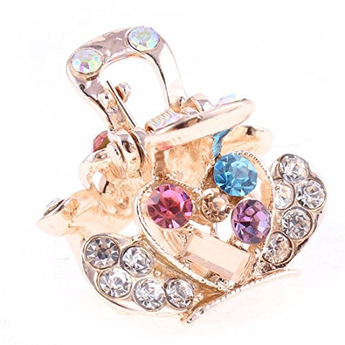 DealMux Faux Rhinestone Accent Heart Pattern Lady Hair Claw Clip Jaw Gold Tone